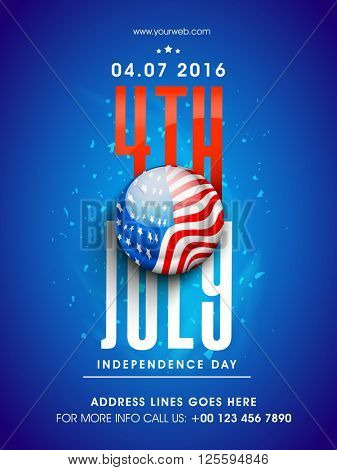 Glossy American National Flag color button with stylish text 4th July on blue background, Pamphlet, Banner or Flyer design for Independence Day celebration.