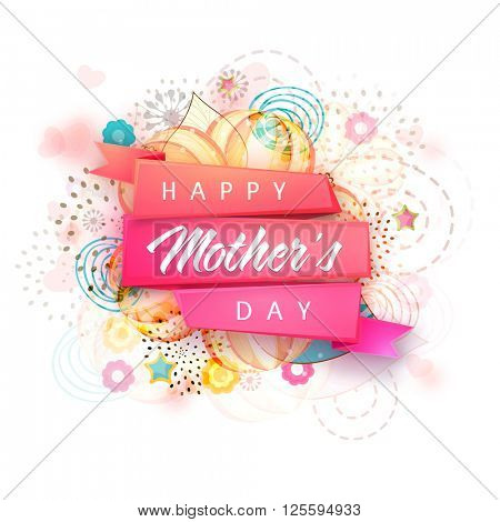 Creative glossy ribbon with stylish text Happy Mother's Day on floral design decorated background.