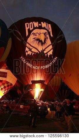 ALBUQUERQUE, NM OCTOBER 5, 2008 POW-MIA hot air balloon on ground at Albuquerque Hot Air Balloon Festival Albuquerque, NM October 5, 2008