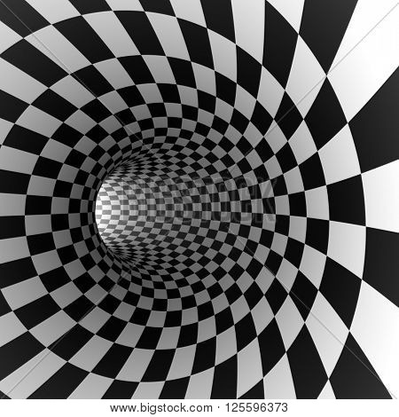 Abstract checkered round tunnel 3D render background.