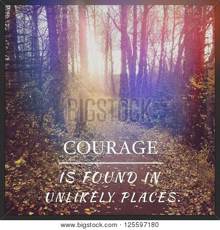 Inspirational Typographic Quote - Courage is found in unlikely places