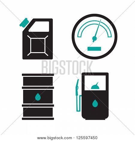 Gas station vector icons set. Gas icon car and oil icon
