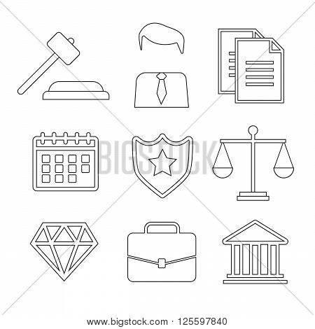 Law and justice thin line vector icons. The legal system judge police and lawyer vector