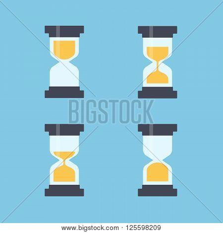 Sandglass flat icons vector. Sandglass animation frames. Time hourglass