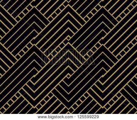 Geometric Gold shapes Background. Striped gold on black geometric pattern. Vector illustration.