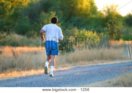 Man running in the country, jogging, exercise, cardio poster
