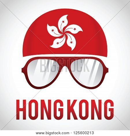 Head band and sunglasses with Hong Kong insignia vector illustration