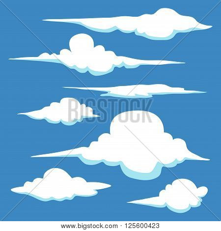 Collection of hand drawn clouds in different shape and sizes vector stock