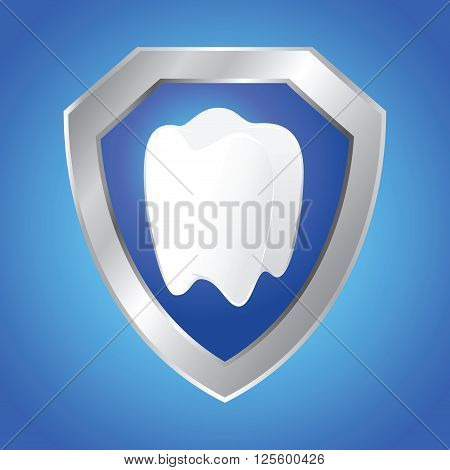Vector stock of shield protecting teeth health concept