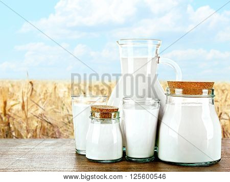 Pitcher, jars and glasses of milk on wooden table against wheat field and blue sky background