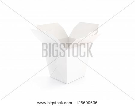 Opened blank wok box mockup stand isolated, 3d rendering. Empty clear noodle carton box mock up. Asian take away food paper bag template. Chinese meal container  packaging. Rice, udon, pasta, fastfood