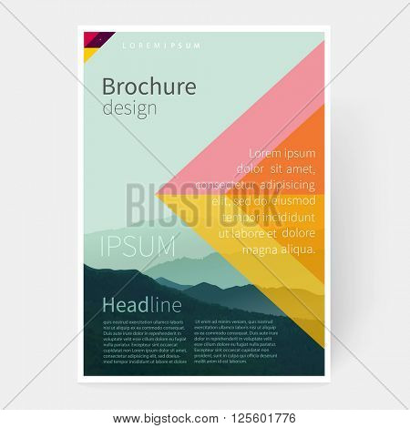 Brochure, leaflet, flyer, poster template. cover design. stock-vector abstract background Mountain landscape. EPS 10