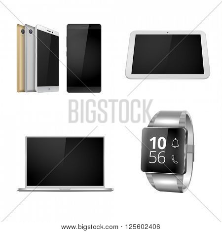 Mobile devices set. Smartphone, laptop, smart watch and tablet in vector format