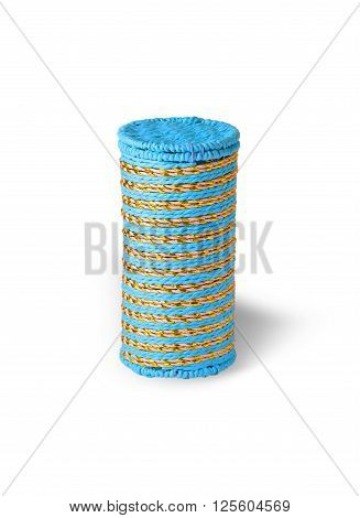 colored striped woven cylindrical box on a white background