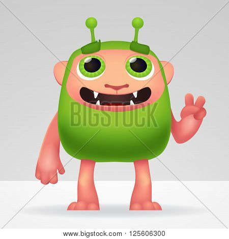 Cute green alien invader with silly smile and funny ears. Fluffy character isolated on light background for your kids design