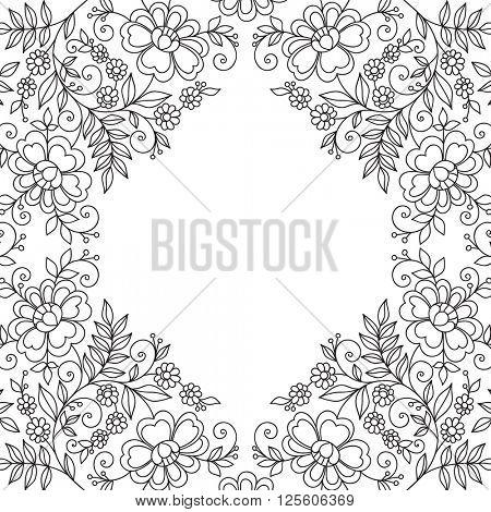 Flower design frame. Invitation or wedding card.