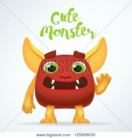 Comic Cartoon red creature character with cute monster lettering. Fun mutant isolated on light background