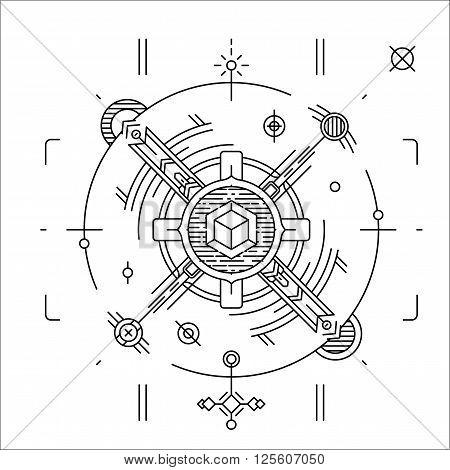 Linear geometrical space design. Modern cosmic line badge. Hipster t-shirt illustration concept