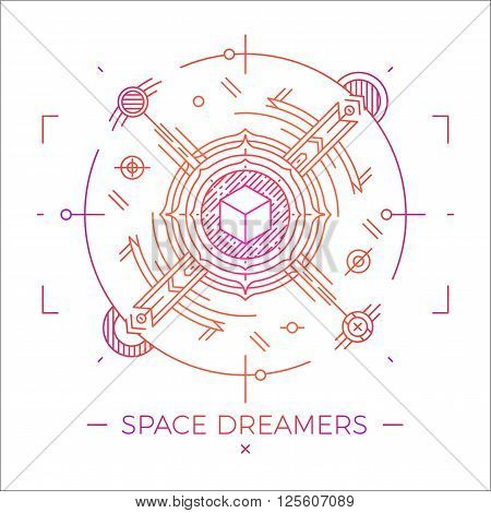 Modern thin line space dreamers illustration. Outline cosmic symbol. Simple mono linear abstract design. Stroke vector logo concept for web graphics