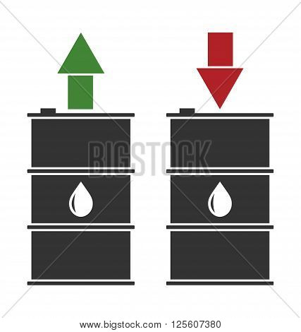 Illustration Black Oil Barrels with Green Red and Arrows on White Background, Concept of Oil Prices Up and Down - Vector
