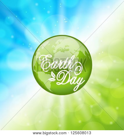 Illustration Glowing Bright Background for Earth Day Holiday with Planet - Vector poster