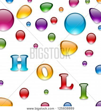 Illustration Multicolored Drops for Indian Festival Holi, Celebration Background - Vector