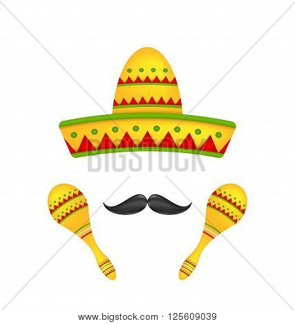 Illustration Mexican Symbols Sombrero Hat, Musical Maracas, Mustache. Colorful Objects Isolated on White background - Vector