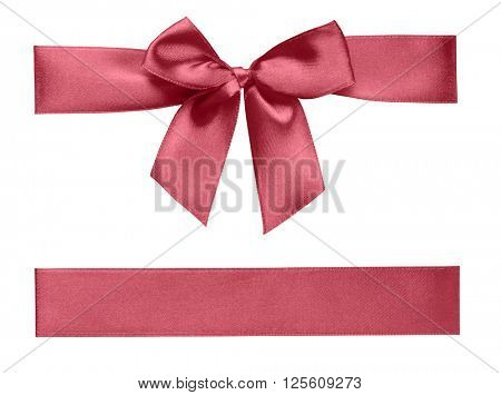 Isolated ribbon with bow on white background