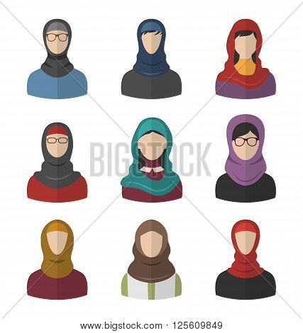 Illustration Set Arabic Women, Heads and Headscarf, Portraits, Traditional Clothing in Arab Countries, Flat Icons - Vector