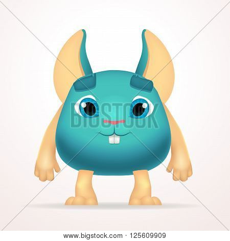 Big goofy mouse mutant character. Fun fat monster isolated on light background. Silly cartoon rabbit for kids design.