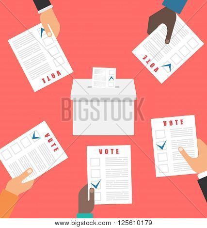 Illustration People Holding Ballot Papers and Putting Them into Ballot Box. Election and Voting Elements in Flat Style - Vector