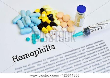 Syringe with drugs for hemophilia disease treatment