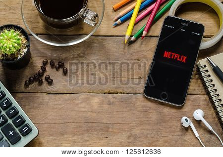 CHIANGMAI THAILAND - APRIL 32016: Netflixl apps showing on iphone 6s. Netflix is an American provider of on-demand Internet streaming media available founded in 1997 by Marc Randolph and Reed Hastings