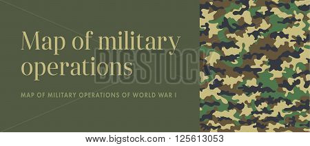 Khaki banner Leaflet Brochure Flyer template design, layout design. Camouflage military cloth of infantry. Abstract background. There are place for text. Vector illustration, EPS10