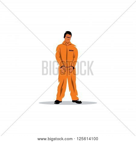 The offender in handcuffs prison in bright clothes.