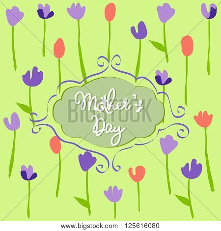 Mother's Day, floral pattern with tulips