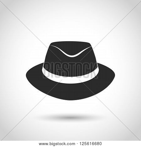 vector black icon Felt hat on a white background with shadow