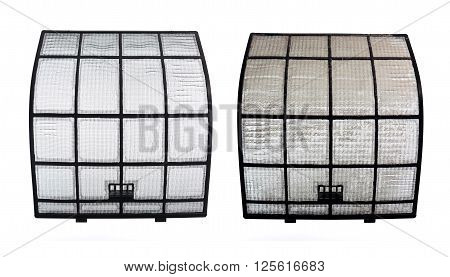 Pair of Clean and Clogged AirCon Filters