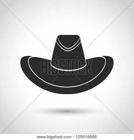 vector black icon Mexican hat on a white background with shadow