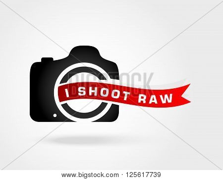 I shoot Raw.Love photo.Shoot Raw photo format.Concept icon for photography enthusiasts