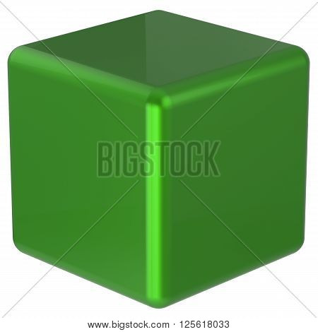 Box cube green simple minimalistic geometric shape block basic solid dice square brick figure glossy element single shiny blank object. 3d render