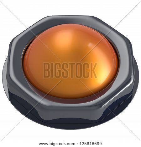 Led push button orange turn on off start action activate ignition power switch design element metallic yellow shiny blank. 3d render