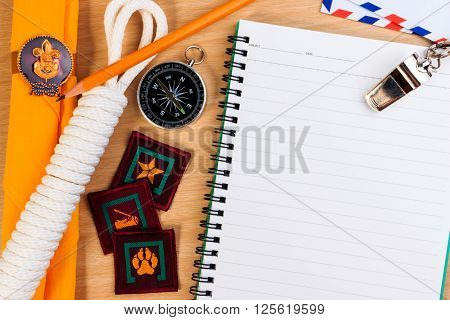 Packing Checklists For Scout Camping Trips, Trip Vacation, Mock Up Close-up On Wooden Table.