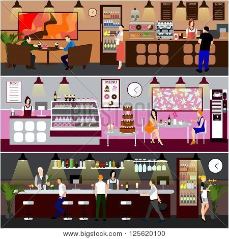 Cafe interior vector illustration. Design of coffee shop, bakery, restaurant and bar. People in cafe cartoon in flat style. Horizontal banners.