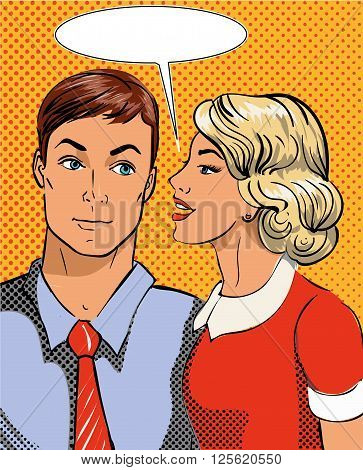 Vector illustration in pop art style. Woman telling secret to man. Retro comic. Gossip and rumors talks.