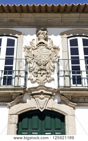 Coat of arms on top of the entrance of the Manor of the Vasconcelos in Vila do Conde Portugal