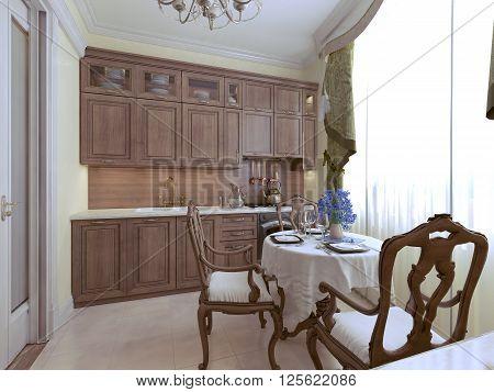 Luxury kitchen english style in daylight. 3d render