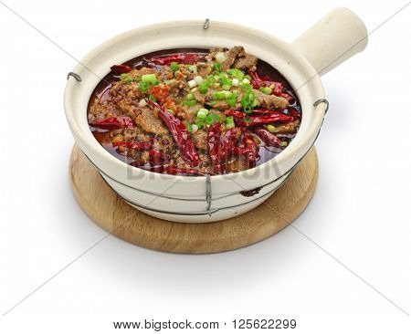shui zhu, sliced beef in hot chili oil, chinese sichuan cuisine