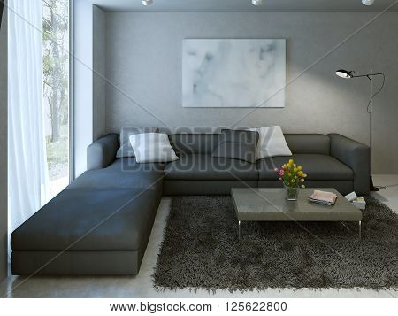 Contemporary living room design with panoramic window. 3d render