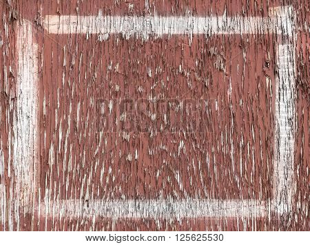 Old wooden painted and chipping paint grunge wooden frame.